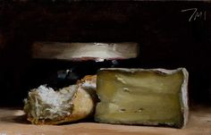 Tomme de Chèvre This amazing little painting by Julian Merrow-Smith makes me wish I was in France! What a delicious little painting! Still Life 2, Food Carving, Still Life Oil Painting, Impressionist Landscape, Food Painting, Z Arts, Hyperrealism, Wine Cheese, Outsider Art