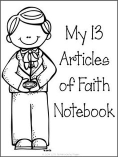 The Articles of Faith tracing notebooking with black and white illustrations and cover page.