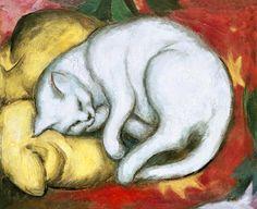 """Franz Marc. """"Gato sobre el almohadón amarillo"""""""