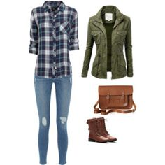 I like the green jacket paired with a blue patterned top.
