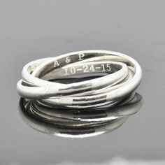Engraving Ring, Russian Ring, Rolling Ring, Trinity Ring, 3 Band, Triplet Ring, Wedding Band, Wedding Ring, Engagement Ring, Stacking Ring by JubileJewel on Etsy