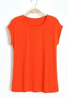 Orange Cotton Round Neck Short Sleeve Plain Tops