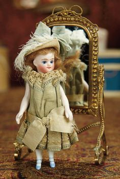The Memory of All That - Marquis Antique Doll Auction: 5 All-Original All-Bisque Mignonette for the French Market, with Ormolu Mirror