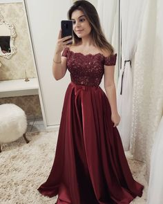 Burgundy off shoulder Lace Long Prom dress Burgundy Party Dress Evening dress Formal Gowns - 2020 New Prom Dresses Fashion - Fashion Of The Year Cheap Evening Dresses, A Line Prom Dresses, Event Dresses, Homecoming Dresses, Dress Prom, Long Dresses, Dress Long, Party Dresses, Evening Gowns
