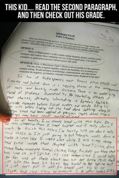 Fun Times: This Kid. Read The Second Paragraph, And Then Check Out His Grade...
