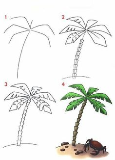 Trendy Ideas palm tree painting tutorial to draw Art Drawings For Kids, Pencil Art Drawings, Drawing For Kids, Easy Drawings, Drawing Art, Coconut Tree Drawing, Tree Painting Easy, Palm Tree Drawing Easy, Pine Tree Tattoo