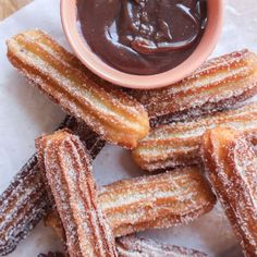 Crispy cinnamon coated churros with a soft centre, dipped in an easy to make chocolate and peanut butter sauce.