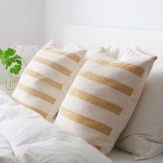 IKEA - KNIPPARV, Cushion, natural golden-yellow, striped, Chenille fabric feels ultra soft against your skin. Cushions Ikea, Striped Cushions, Chenille Fabric, Golden Yellow, Yellow Stripes, Decoration, Matcha, Bedroom Decor, Upcycling