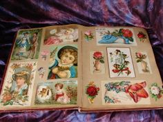 """Antique Victorian Scrapbook and Trade Card Album Americana collection of old die cuts trade cards and other great items, book is 12"""" x 9""""  SOLD $203.82 on 4/18/14"""