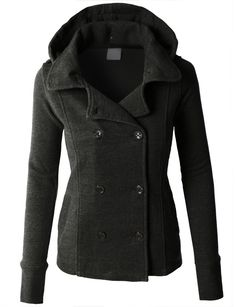 LE3NO PREMIUM Womens Classic Double Breasted Peacoat Jacket with Detachable Hoodie