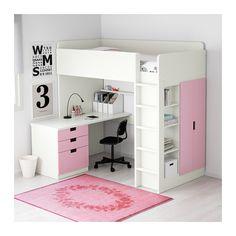 STUVA Loft bed with 3 drawers/2 doors - white/pink - IKEA