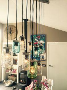 Lamp steigerhout en glazen potten.