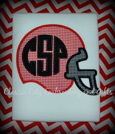 Football helmet monogrammed shirt can be made in by ClassicCityEmb, $24.00
