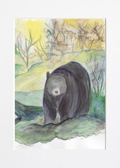 Excited to share the latest addition to my #etsy shop: Buttonwood Bear http://etsy.me/2DKqDWk #art #drawing #bear #zoo #animal #kid #watercolor #print #original