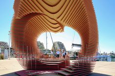 Temporary Architecture: PortHole Pavillion- A perspective-localized technique based on the pure geometry of a circle anoints an urban piece of furniture – a public art-architectural installation at this year's Lively Architectural Festival in France. Leave us your inputs… http://globalhop.indiaartndesign.com/2015/07/temporary-architecture-porthole.html