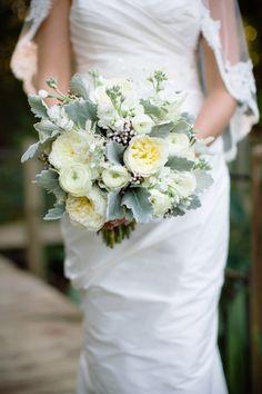 #peony, #dusty-miller, #ranunculus, #bouquetPhotography: Theo Milo Photography - theomilophotography.comFloral Design: Salt Harbor Designs - saltharbor.comRead More: http://stylemepretty.com/2013/04/10/wilmington-wedding-from-theo-milo-photography/