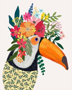 Items similar to Toucan with Floral Crown Art Print – Funny Decoration Gift – Cute Room Decor – Poster by Mia Charro on Etsy Flower On Head, Flower Crowns, Baby Flower, Crown Art, Crown Decor, Tilda Toy, Cute Room Decor, Guache, Bird Illustration
