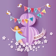 Happy 8 March women day and purple background vector Women's Day 8 March, Happy March, 8th Of March, Happy Woman Day, Happy Women, Diy For Kids, Crafts For Kids, Women's Day Cards, Cute Happy Birthday