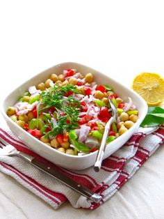 Kaffir Lime and Chickpeas Salad — refreshingly light and clean flavors Kaffir Lime, Chickpea Salad, Middle Eastern Recipes, Sugar And Spice, Clean Recipes, Yummy Treats, Chickpeas, Healthy Eating, Vegetarian