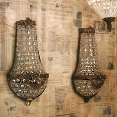 This gorgeous pair of sconces reflect Old World glamour of classic French and European design. These carefully crafted mixed metal and glass bead antique reproduction sconces epitomise time elegance of. Lantern Chandelier, Antique Chandelier, Chandeliers, Light Fittings, Light Fixtures, Crystal Sconce, Home Lighting, Lighting Ideas, French Decor