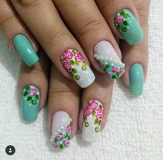 Flower Nail Designs, Nail Art Designs, Beauty Nails, Hair Beauty, Finger, Manicure Y Pedicure, Top Nail, Spring Nails, Opi