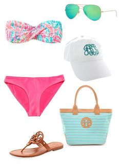 """""""Lalalalove this bikini"""" by madisonyp ❤ liked on Polyvore featuring Lilly Pulitzer, Ray-Ban and Tory Burch"""