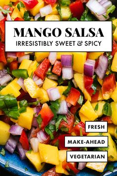 This simple and colorful mango salsa is super easy to make! It's sweet, spicy and absolutely delicious. Serve this fresh mango salsa with chips, on tacos or salads, or as a salad itself. Recipe yields about 3 cups salsa. Mexican Food Recipes, Vegetarian Recipes, Cooking Recipes, Healthy Recipes, Easy Recipes, Mexican Dishes, Healthy Food, Tasty Snacks, Cheap Recipes