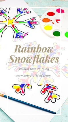 Raised Salt Painted Rainbow Snowflakes: Part art, part experiment, this easy Winter craft for kids is a fun and engaging way to combine art and science. Children get to play with paint, salt and glue and explore texture and color, whilst learning at the same time, making it the perfect activity for school or home. Winter Art Projects, Winter Crafts For Kids, Crafts For Kids To Make, Projects For Kids, Salt Painting, Snowflake Template, Penguin Craft, Crafty Kids, Snowman Crafts