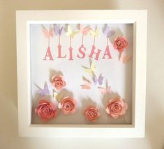 A lovely personalised box frame that can be customised to suit boy/girl, new baby, childs name etc. and is a sweet addition to decorate your little ones bedroom/nursery. I use wide variety of paper and card stock and I am also happy to source colours so that any colour scheme can be