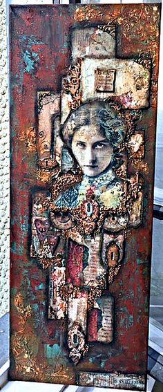 by vasilis kontos steampunk collage canvas new stamperia collection 2018(artisanal royal)