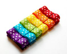 Baby Hair Clips - Baby Hair Snaps - Infant Hair Clips -Rainbow Polka Dot Bow Baby Hair Snaps,Girl, Baby, Toddler, Children clippies. $10.50, via Etsy.