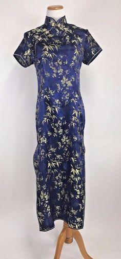 Vintage Asian Cheongsam Dress Kimono Mandarin Collar Blue Gold L XL #Unbranded