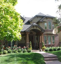 Red and Mid-Sized Two-Story Brick Exterior Design Ideas, Pictures, Remodel & Decor