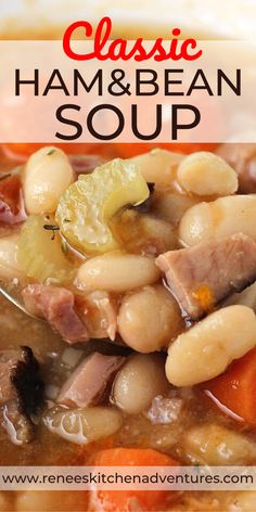 Ham and Bean Soup by Renee's Kitchen Adventures - classic ham and bean soup made easy on the stove top. Smoky ham, white beans, and veggies make this soup a family favorite. It's a healthy soup that will warm you right up! Ham Bone Bean Soup, Ham Hock Soup, Ham Hocks And Beans, Bean Soup With Ham, Soup With Ham Bone, Bone Soup, Ham Bone Recipes, Leftover Ham Recipes, Leftover Ham Bone Recipe