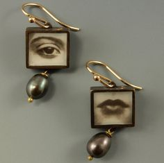 Image of Eye & Mouth Square Photo Earrings