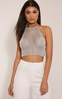 Nubia Silver Metallic Knitted Crop Top Image 1