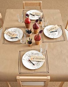 Kraft paper table cloth ... I like this idea to draw the spoons, cups, etc as well for kids party or afternoon snack. They can help draw the items and then set the table.