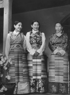 Three women from Sikkim, the northern Indian state which borders with Tibet, wearing traditional clothing. (Photo by Dr Ulrich Mohr/Keystone/Getty Images). 2 April 1959