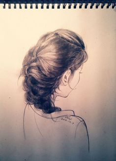 """French braid. One of those things were I thought """"should I pin this to my hair board or my art board?"""" I went with art."""