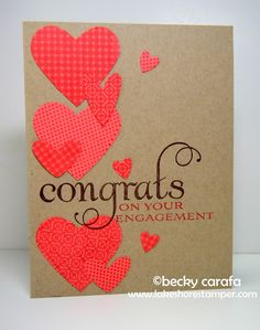 Engagement Congratulations with punched out hearts and simple wording