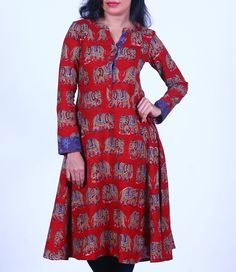 Maroon Kalamkari Printed Cotton Flared Kurti