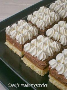 Receptek, hasznos cikkek és képek oldala!: Csokis madártejszelet Hungarian Desserts, Hungarian Recipes, Cake & Co, Easy Desserts, Cake Cookies, Sweet Recipes, Cookie Recipes, Bakery, Food And Drink