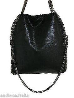 Borsa borsetta grande nera con 3 catene scure tracolla monospalla eco pelle 81945c874ad