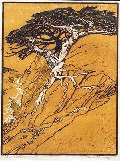 K Nakajima Woodblock Prints ... Lemos (1882-1945) - The Cliff Dweller. Woodblock Print. Circa 1920's
