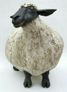 "black and white - sheep - sculpture - ""Sabrina the Extra Large Sheep"" JJ Vincent Pottery Animals, Ceramic Animals, Clay Animals, Ceramic Figures, Clay Figures, Pottery Sculpture, Sculpture Clay, Ceramic Pottery, Ceramic Art"