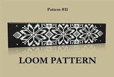 Seed Bead Loom Pattern #:11 - Baltic Ornament Beaded Bracelet Pattern - Black and White Loom or Square Stitch Bead Pattern by LoraMarMagicBeads on Etsy