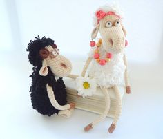 Crochet art dolls Mrs. & Mr. Sheeps, Cute stuffed animals, Soft toys, Holiday gifts ideas, Chinese new year, 2015 symbol, Wedding gifts toys