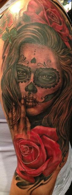 Joey Hamilton Day of the Dead tattoo -This beautiful tattoo is a half sleeve…