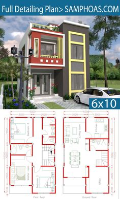 Home Design Plan with 3 Bedrooms. Simple House Design, House Front Design, Modern House Design, 2 Storey House Design, Bungalow House Design, Modern House Plans, Small House Plans, The Plan, How To Plan