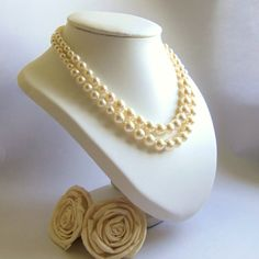 Cream pearl Swarovski double strand necklace by FayeValentineJewelry on Etsy